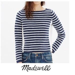 Madewell Shoulder Zip Striped Sweater